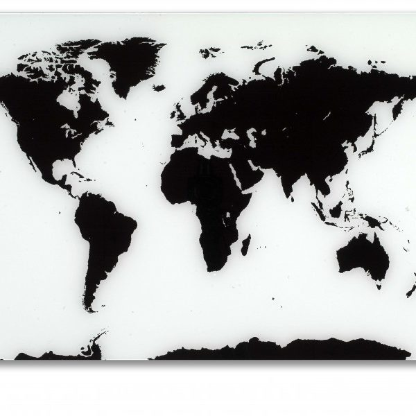 Black and White Glass World Map | Designer Allboards